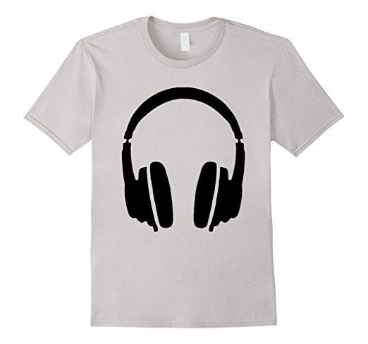 Headphone dj t-shirts Black