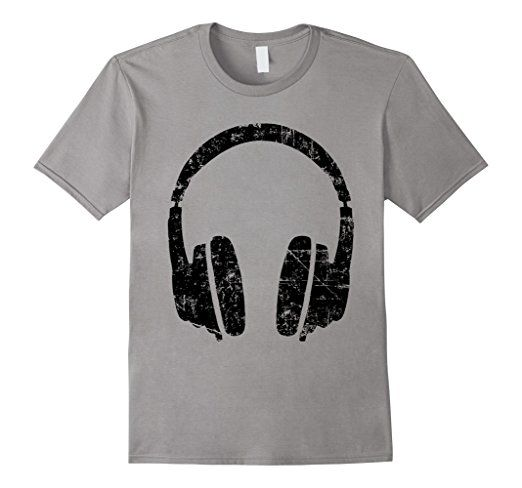 Headphone dj t-shirts Vintage Black