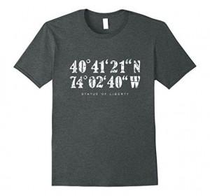 Statue of liberty coordinates t-shirt