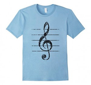 Treble Clef T-Shirts Vintage Black Sheet lines