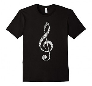 Treble Clef T-Shirts Vintage White
