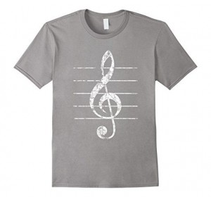 Treble Clef T-Shirts Vintage White Sheet lines
