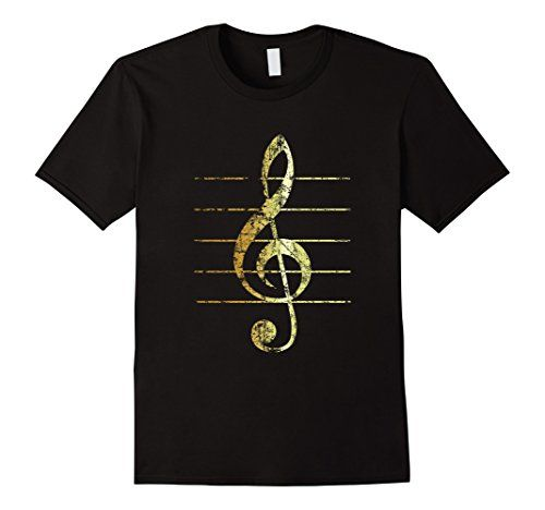 Treble Clef Lines T-Shirts Ancient Gold